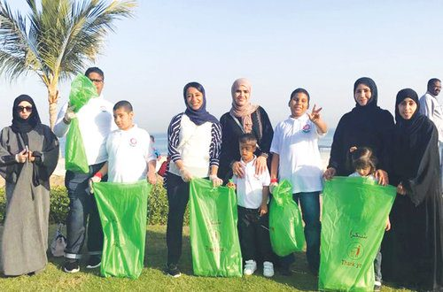 Around 150 including children clean beach