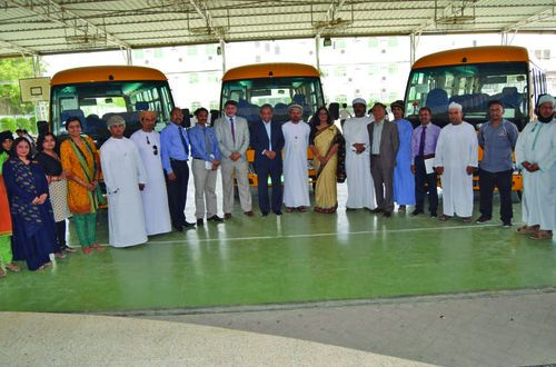 Indian School Sohar inaugurates three new buses for students