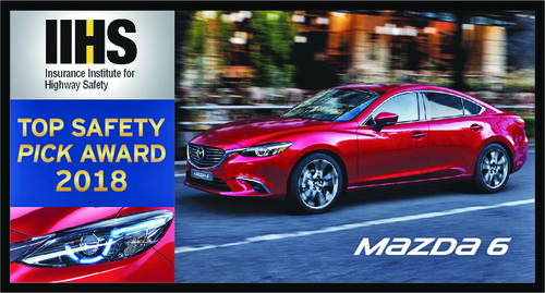 Mazda 6 recognised with IIHS 2018 Top Safety Pick Award