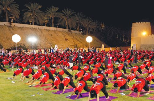 It's a world record: 530 in Oman do 108 sun-salutations